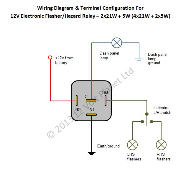 Electronic_hazard_and_flasher_relay_unit_1[3] 12v electronic flasher hazard relay 21wx2 5w 12 volt planet flasher wiring diagram at crackthecode.co